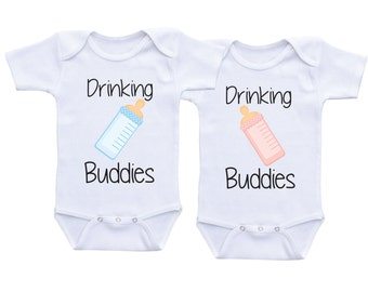 Twin Baby shower gifts Twin Matching Outfits Drinking Buddies Twin Onesies Twin Bodysuits,Twin baby onesies,Twin Outfits,Twin Babyshirts