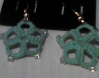 Tatted Flower Earrings with beads