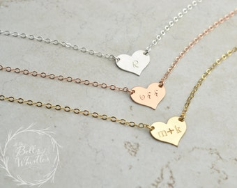 Personalized Heart Necklace, Initial Necklace, Gold Necklace, Delicate Necklace, bridesmaid gifts, gift for mom, wedding gift