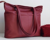 Marsala bag, dark red bag with pockets, wine women shoulder bag, handbag, shopper bag, women purse, vegan leather bag, faux leather, for her