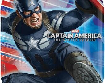 Captain America ''Winter Soldier'' Dessert Square Paper Plates 8ct