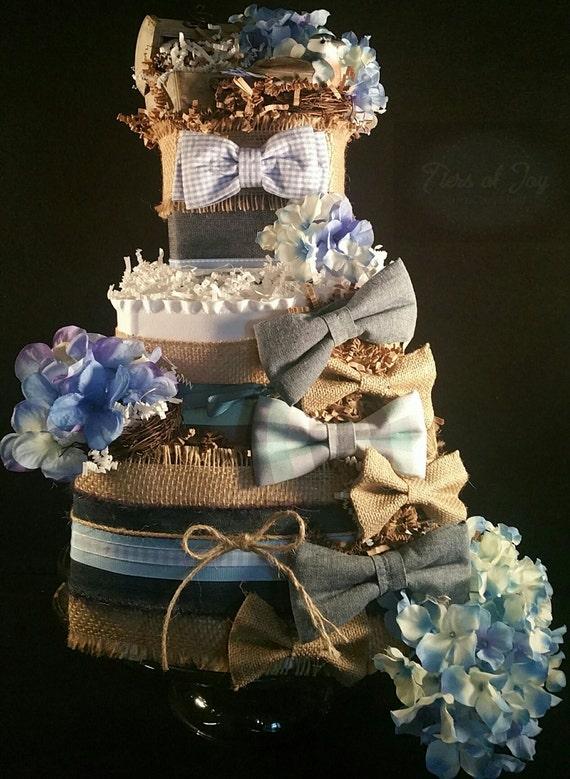 3 Tier Bow Ties Diaper Cake W White Black By Tiersofjoybyus