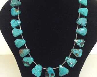 Turquoise faceted  flat slabs, Natural turquoise. 7x18x20mm. 15 1/2 inch strand, For 20pcs(TP466)