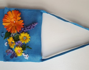 Bag, hand bag, sac, sacoche, jute bag, hand embroidered, hand made, gift, cadeau, ribbon work, flowers, cabas
