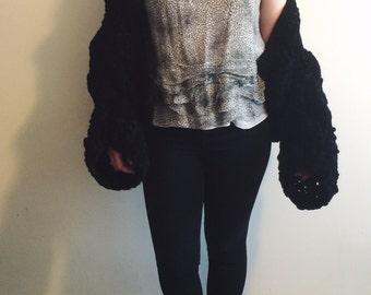 Vintage Black Knit Slouch Cardigan