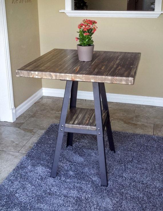 Counter Height Industrial Table : COUNTER HEIGHT TABLE - Industrial Reclaimed Stacked Wood w/ Lower ...