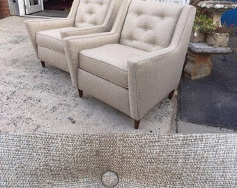 Upholstered Mid Century Accent Chair with Atomic Arms- Beige Tweed Fabric~ Design 59 inc