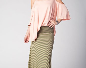 S580 Full Length Stripe Print Wide Waistband A Line Maxi Skirt (Made in USA)