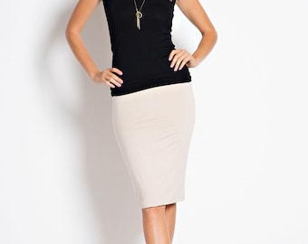 S-550 Solid Color Knee-length Elastic Waist Fitted Pencil Skirt (Made in USA)