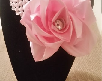 Baby girl headband Big pink flower headband with crystal baby girl hair flower baby headband picture prop photography prop 3 to 9 month
