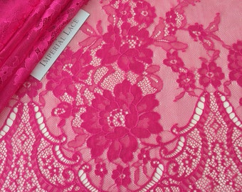 Fuchsia Pink  lace fabric, Wedding lace,  lingerie lace, fuchsia red chantilly  lace fabric K00260