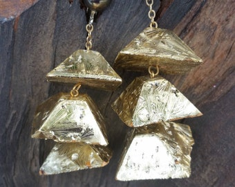 Cork Pyramid  Gold Clip On Earrings