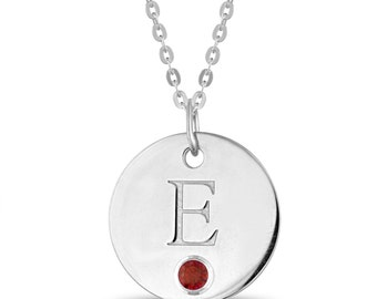 Initial E Disc Pendant With Personalized Birthstone In Sterling Silver