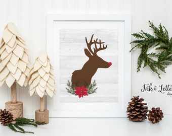 Rustic Christmas Decor - Christmas Sign - Reindeer Printable - Holiday Home Decor - Rudolph Print - Reindeer Print - Instant Download - 8x10
