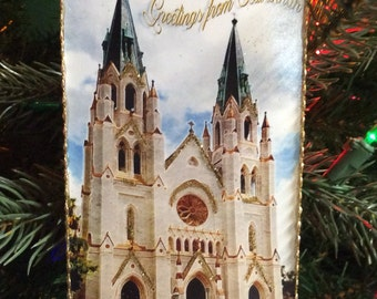 Christmas Postcard Ornament of Cathedral of St. John the Baptist Savannah Georgia