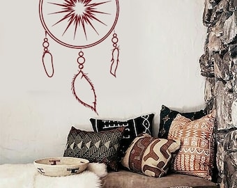 Wall Vinyl Decal Bedroom Decor Dream Catcher Lakota Willow Hoop Snare Modern Ethnic Home Art Decor (#1081dz)