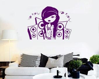 Wall Vinyl Decal Girl Music Headphones Speakers Girl's Room Modern Sketch Home Art Decor (#1242da)