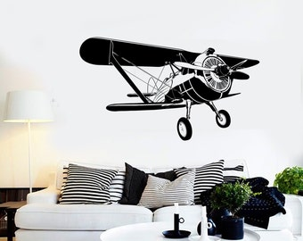 Wall Vinyl Airplane Retro Biplane Guaranteed Quality Decal Mural Art 1647dz