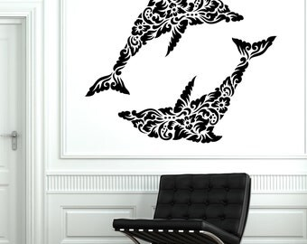 Wall Decal Dolphin Ocean Floral Ornament Tribal Mural Vinyl Decal Mural Sticker 1707dz