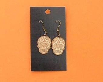Sugar Skull design earrings for pierced ears.