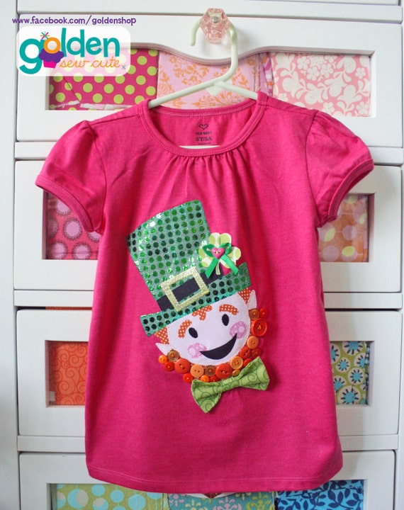St. Patrick's Day Lucky Leprechaun Clover and Bow Tie Tee