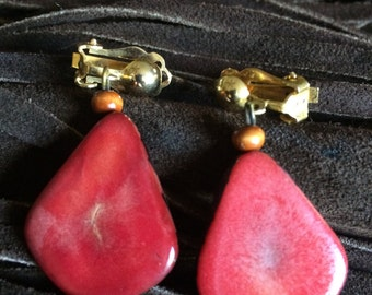 Vintage Red Agate Stone Earrings, Clip