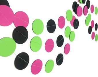 80s Party Decorations - Birthday Party Decorations - Neon Circle Garland - Summer Party - Watermelon - 1980s Party Decorations - 10 Feet