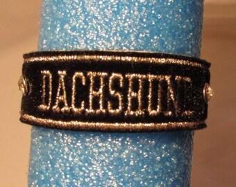 Bracelets, dachshund,embroidery, Dog, Canine, Black, Silver,