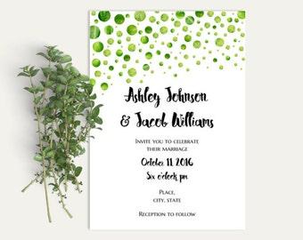 Summer wedding invitation printable Green wedding Modern invitation template Garden wedding invitation diy Greenery wedding invitation W73