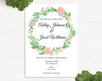Floral invitation template Garden wedding invitation printable Spring wedding Invites flowers Romantic wedding invitation digital 1W101