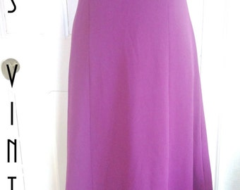 """Sale!! Plus Size UK 16 Vintage 1960s Purple Beaded Maxi Dress Boho Empire Line Mad Men EU 44 US 12 Bust 42"""" 107cm"""
