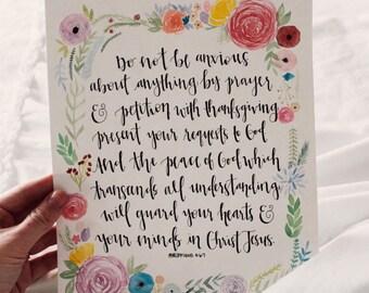Philippians 4:6-7 Handmade Quote + Watercolor Border