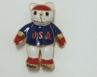 Red White Blue USA Bear Brooch Pin 9735