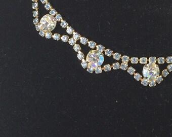 Vintage Blue and Aurora Borealis Rhinestone Choker Necklace 9648