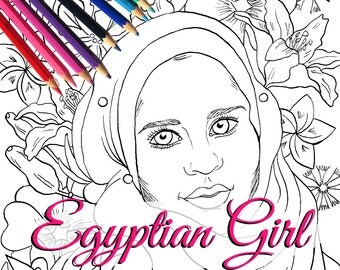 Egyptian Girl with Flowers Adult Coloring Page and Digital Stamp