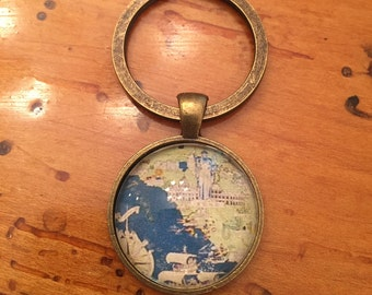 Old Map Keychain