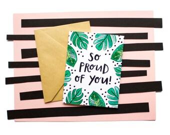 Proud of You, Palm Leaf, Watercolor Graduation, Achievement, Success, New Job, Congrats, Reaching Goals Card