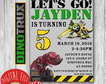 Digital Dinotrux Invitation, Dinotrux Birthday Party, construction Themed Birthday Party, custom personalized