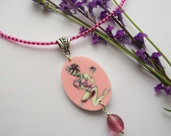 Dead Pretty - Zombie pin up girl necklace. 1950's Rockabilly style. Pink