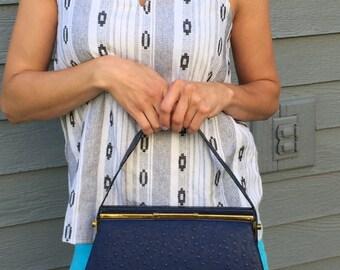 Vintage purse, ArtMex Vintage genuine leather blue handbag