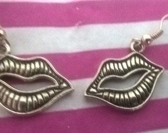 Silver 3D Lips earrings *Rocky Horrror inspired*