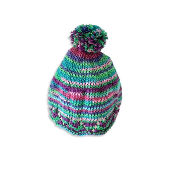 Baby bobble hat, Knitting pattern, Instant download, Baby knitting, Bonnet, B...