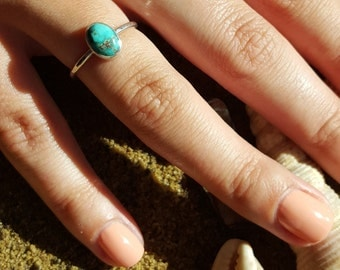 Sterling Silver & Turquoise Oval Cabochon Ring, Silver Stacker Ring, Stacking Ring