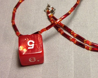 Matellic red and orange D6 necklace