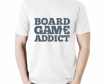 Board Game Addict T-shirt | White Tshirts for Board Game Geeks and Tabletop Gamers | Meeple and BoardGame Tees