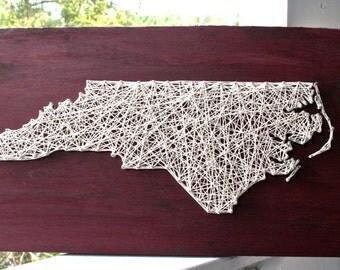 Custom State String Art | North Carolina String Art on Distressed Barn Red Wood