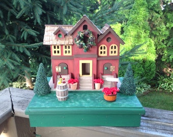 Napa Valley Winery Bird House // Red // Hand Painted//Miniatures