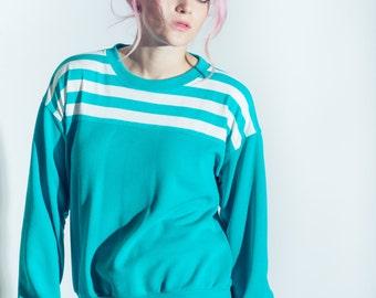 Vintage Aqua Striped Pullover