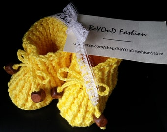 Yellow Cotton Baby Booties Crochet Booties Beyond Fashion