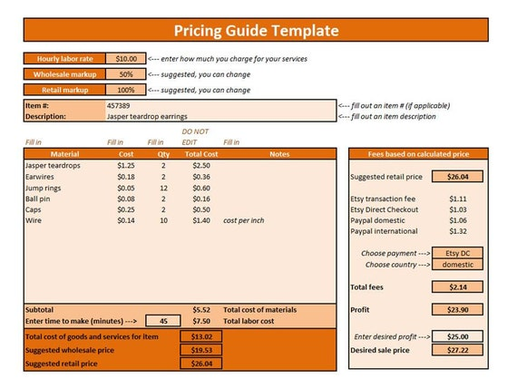 etsy shop policies template - etsy pricing guide excel template pricing by